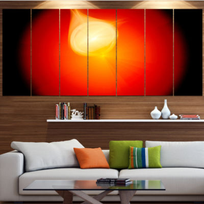 Glowing Red Misty Sphere Contemporary Canvas Art Print - 5 Panels
