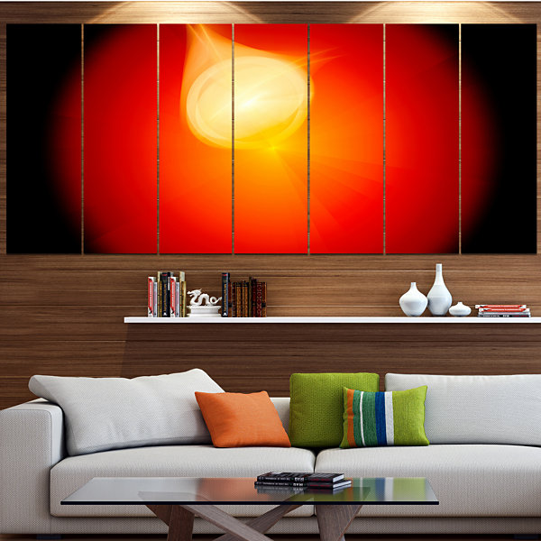 Glowing Red Misty Sphere Abstract Canvas Art Print- 7 Panels
