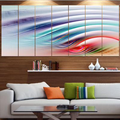 Water Ripples Rainbow Waves Abstract Canvas Art Print - 4 Panels