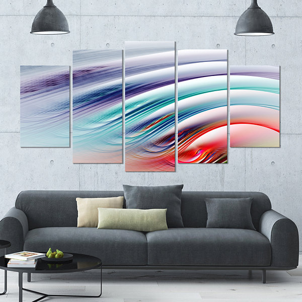 Water Ripples Rainbow Waves Contemporary Canvas Art Print - 5 Panels