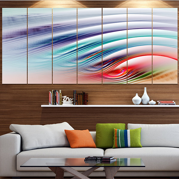 Water Ripples Rainbow Waves Abstract Canvas Art Print - 6 Panels