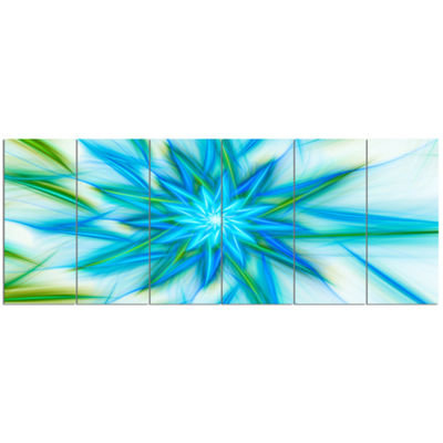 Designart Blue Fractal Shining Bright Star Abstract Canvas Art Print - 6 Panels