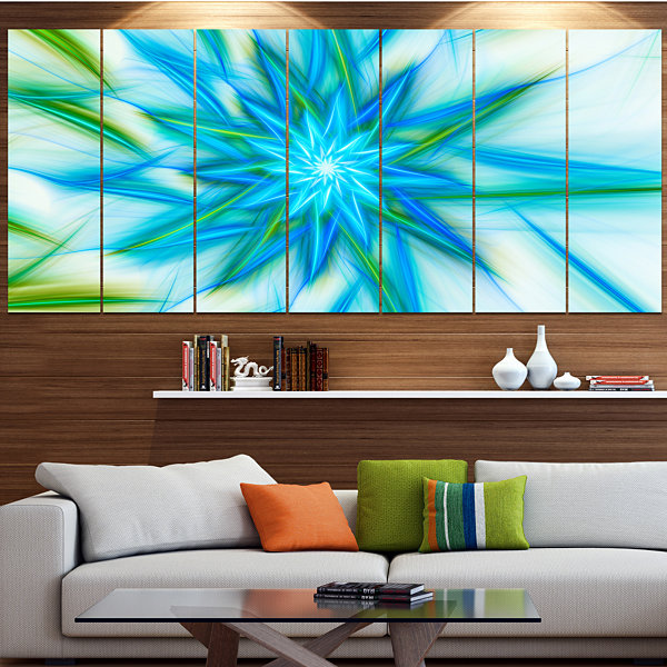 Design Art Blue Fractal Shining Bright Star Abstract Canvas Art Print - 7 Panels