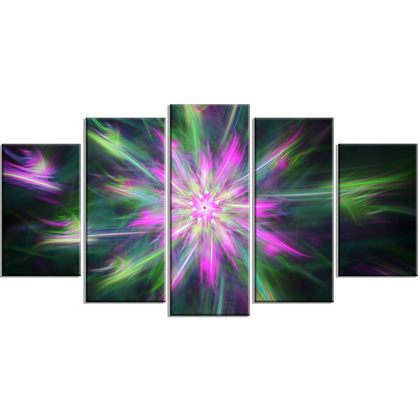 Green Fractal Shining Bright Star Contemporary Canvas Art Print - 5 Panels