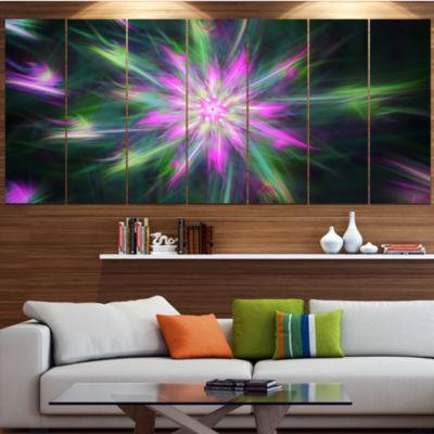 Green Fractal Shining Bright Star Abstract CanvasArt Print - 6 Panels