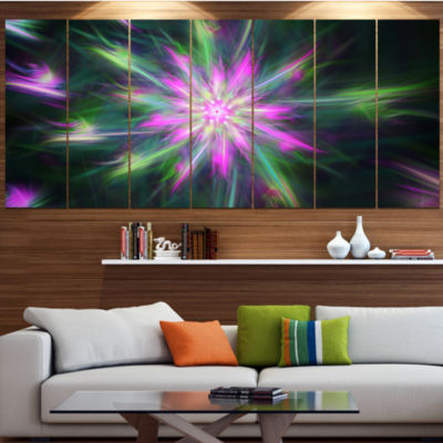 Green Fractal Shining Bright Star Abstract CanvasArt Print - 7 Panels
