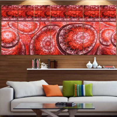 Red Living Cells Fractal Design Abstract Canvas Art Print - 5 Panels