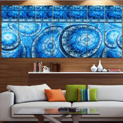 Blue Living Cells Fractal Design Abstract Canvas Art Print - 5 Panels