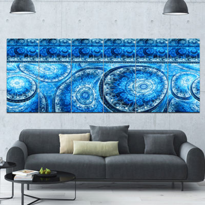 Designart Blue Living Cells Fractal Design Abstract Canvas Art Print - 6 Panels