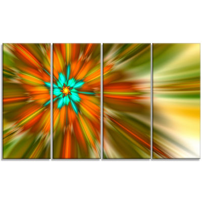 Rotating Bright Fractal Flower Abstract Canvas ArtPrint - 4 Panels