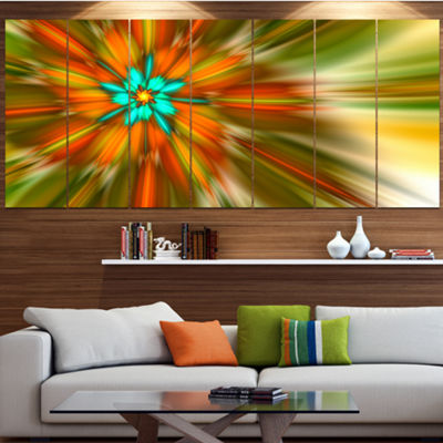 Rotating Bright Fractal Flower Abstract Canvas ArtPrint - 5 Panels
