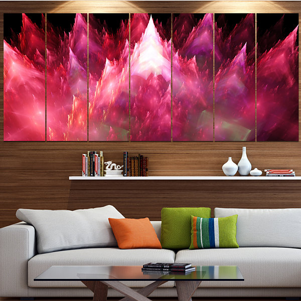 Red Fractal Crystals Design Abstract Canvas Art Print - 5 Panels