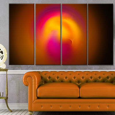 Yellow Pink Misty Sphere On Black Abstract CanvasArt Print - 4 Panels