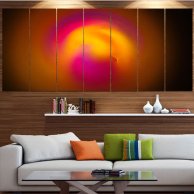 Yellow Pink Misty Sphere On Black Contemporary Canvas Art Print - 5 Panels
