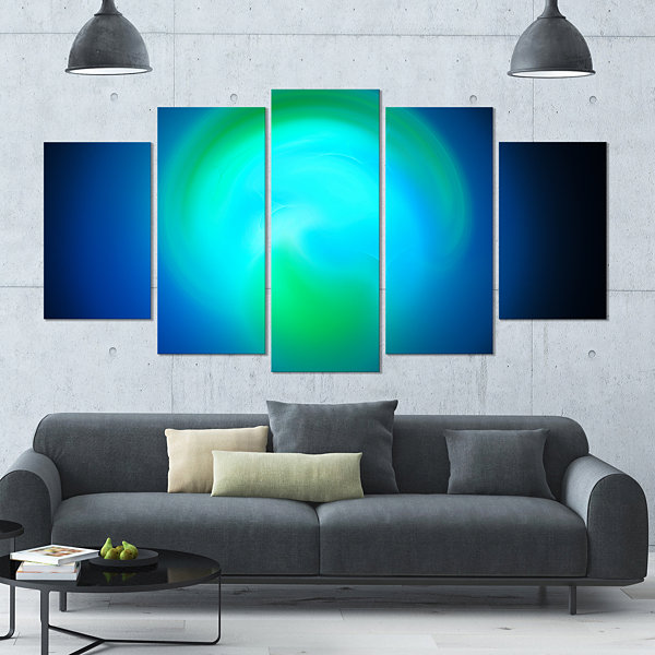 Designart Blue Misty Sphere On Black ContemporaryCanvas ArtPrint - 5 Panels