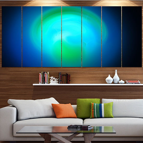 Designart Blue Misty Sphere On Black Abstract Canvas Art Print - 6 Panels