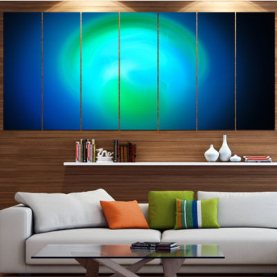 Blue Misty Sphere On Black Abstract Canvas Art Print - 7 Panels