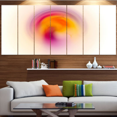 Pink Yellow Luminous Misty Sphere Abstract CanvasArt Print - 4 Panels