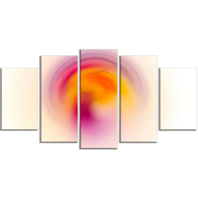 Pink Yellow Luminous Misty Sphere Contemporary Canvas Art Print - 5 Panels