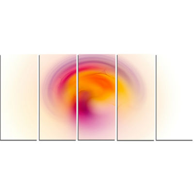 Pink Yellow Luminous Misty Sphere Abstract CanvasArt Print - 5 Panels