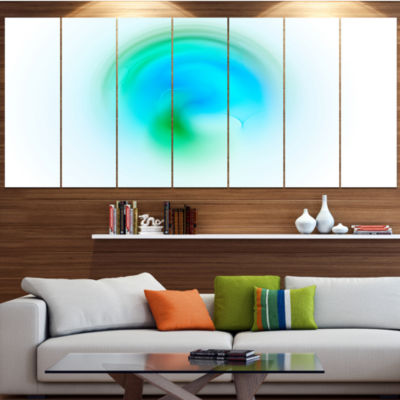Green Luminous Misty Sphere Contemporary Canvas Art Print - 5 Panels