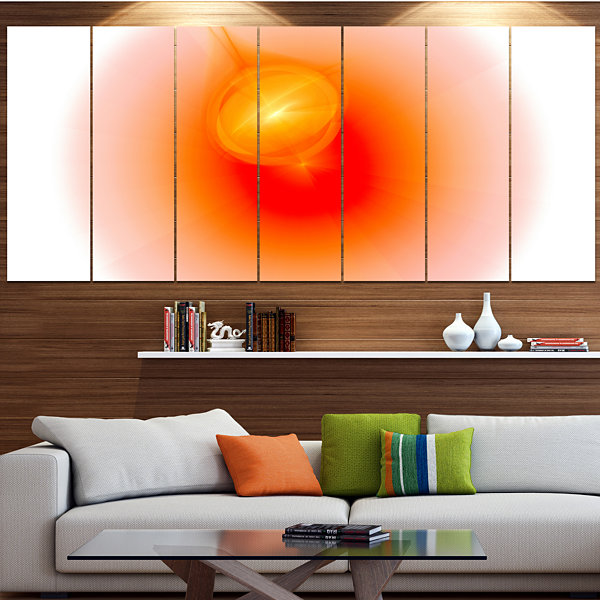 Red Luminous Misty Sphere Contemporary Canvas ArtPrint - 5 Panels