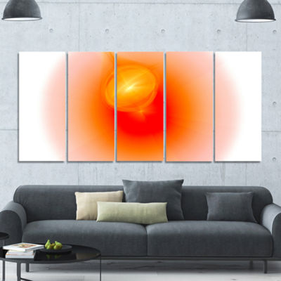 Red Luminous Misty Sphere Abstract Canvas Art Print - 5 Panels