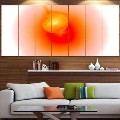 Red Luminous Misty Sphere Abstract Canvas Art Print - 7 Panels