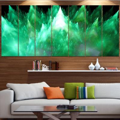 Green Fractal Crystals Design Abstract Canvas ArtPrint - 7 Panels