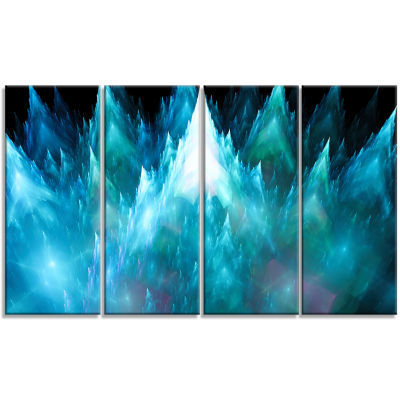 Blue Fractal Crystals Design Abstract Canvas Art Print - 4 Panels