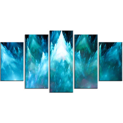 Designart Blue Fractal Crystals Design Contemporary Canvas Art Print - 5 Panels