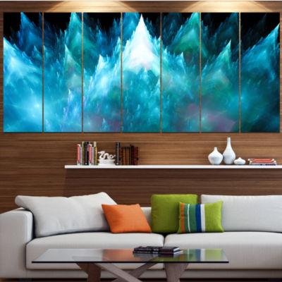 Design Art Blue Fractal Crystals Design Abstract Canvas Art Print - 7 Panels