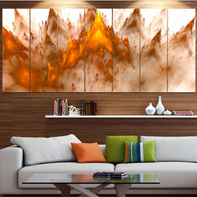 Designart Brown Fractal Crystals Design Contemporary CanvasArt Print - 5 Panels