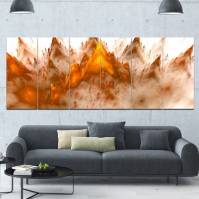 Brown Fractal Crystals Design Abstract Canvas ArtPrint - 6 Panels