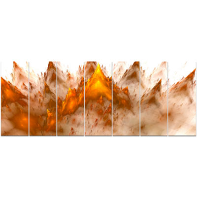 Designart Brown Fractal Crystals Design AbstractCanvas ArtPrint - 7 Panels
