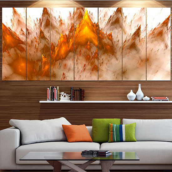 Designart Brown Fractal Crystals Design AbstractCanvas ArtPrint - 7 Panels