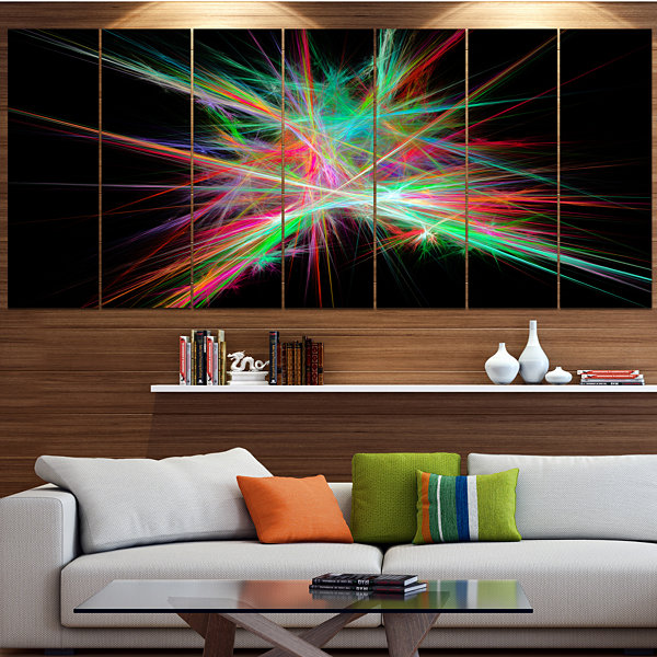 Green Red Spectrum Of Light Abstract Canvas Art Print - 4 Panels