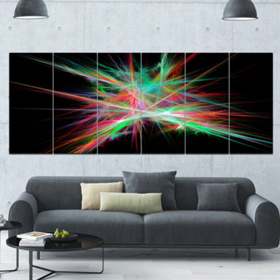 Green Red Spectrum Of Light Abstract Canvas Art Print - 6 Panels