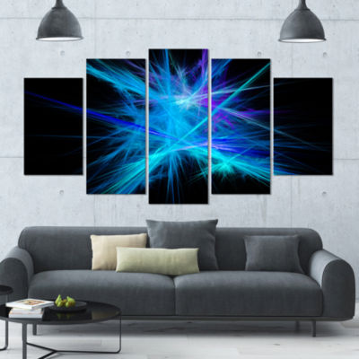 Clear Blue Spectrum Of Light Contemporary Canvas Art Print - 5 Panels