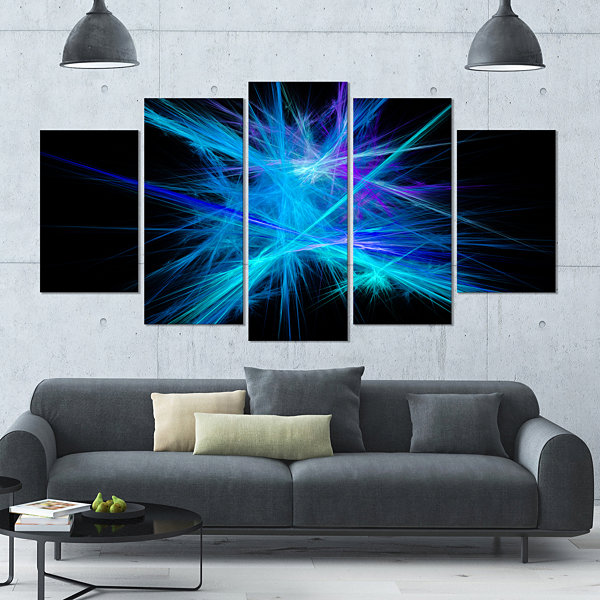 Designart Clear Blue Spectrum Of Light Contemporary Canvas Art Print - 5 Panels