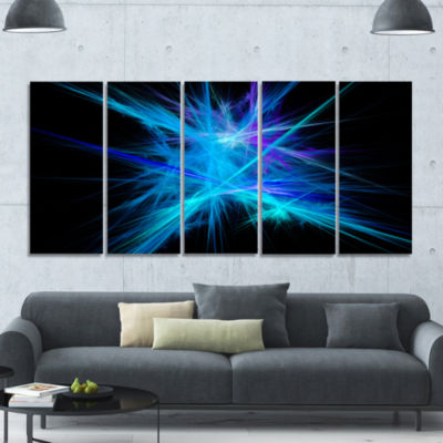 Clear Blue Spectrum Of Light Abstract Canvas Art Print - 5 Panels