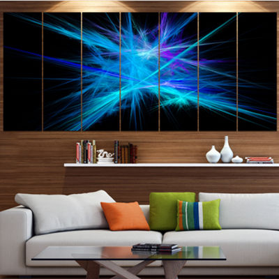 Designart Clear Blue Spectrum Of Light Abstract Canvas Art Print - 6 Panels