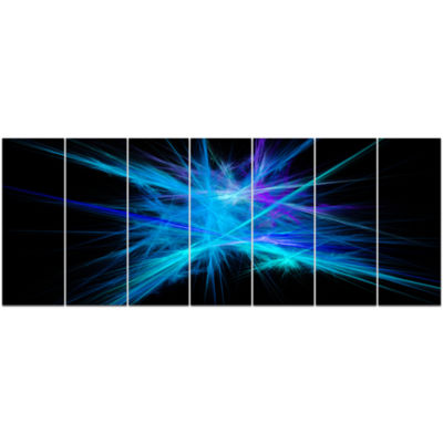 Clear Blue Spectrum Of Light Abstract Canvas Art Print - 7 Panels