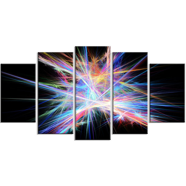 Light Blue Spectrum Of Light Contemporary Canvas Art Print - 5 Panels