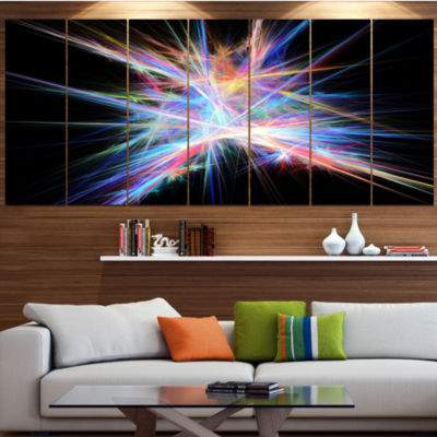 Light Blue Spectrum Of Light Abstract Canvas Art Print - 5 Panels