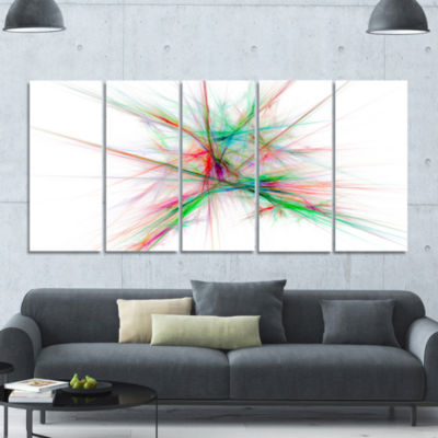 Blue Red Spectrum Of Light Abstract Canvas Art Print - 5 Panels
