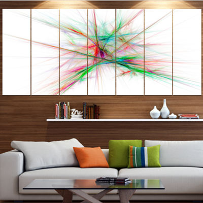 Designart Blue Red Spectrum Of Light Abstract Canvas Art Print - 5 Panels