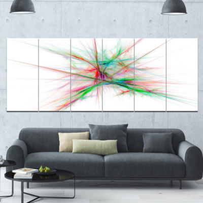 Blue Red Spectrum Of Light Abstract Canvas Art Print - 6 Panels