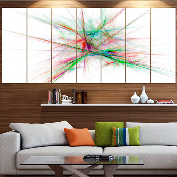Designart Blue Red Spectrum Of Light Abstract Canvas Art Print - 6 Panels
