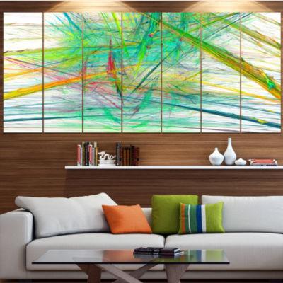 Green Magical Fractal Pattern Abstract Canvas ArtPrint - 7 Panels